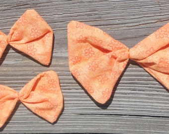 Orange Flower Fabric Hair Bow Set for girls  toddlers tweens teens women -  Fall colored hair bows