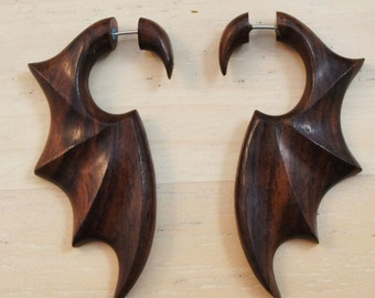 Sono Wood Fake Bat Dragon Wing Gauge Earrings Pair of Natural Brown Organic Illusion Wooden Hangers Tapers Dangle 2G (6-7mm)