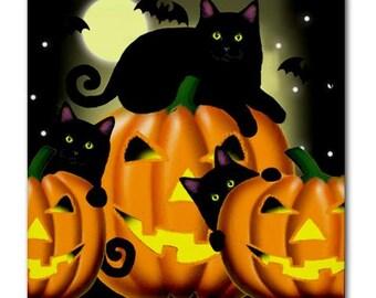 BLACK CAT Pumpkin HALLOWEEN Art Ceramic Tile Coaster optional frame