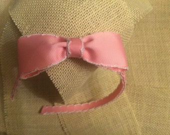 Pink and White Moonstitch Grosgrain Ribbon Lined Headband with Matching Bow