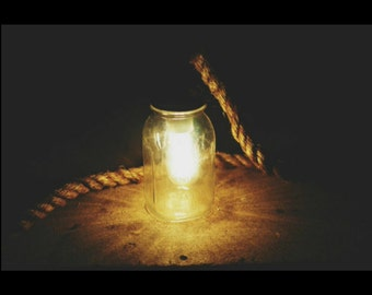Vintage Hanging Mason Jar Light with Edison Bulb and Industrial Rope