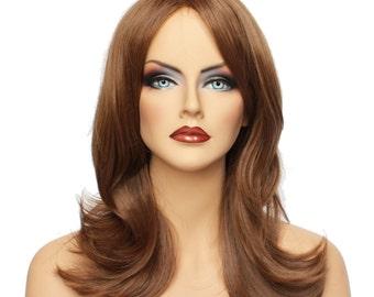 Classic Cap women Synthetic Wavy Long Medium Brown full wig HengFeng LHL04  SKU: 10B33