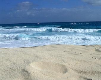 Photography, Beach, Bahamas, Hopetown Torquoise Sea, Blue Sky, Sandy Beach, Foamy Surf, Fine Art Print, Home Decor, 5x7, 8x10, 11x14, Beach