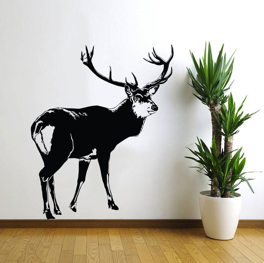Deer wall decal decor sticker vinyl wall art by for Deer wall mural