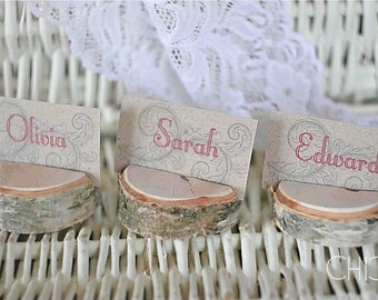 Rustic wedding table card holders, wooden place card holders, SET of 100 natural birch name card holders, Shabby Chic decor