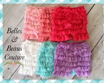 Six Colors - Petti Lace Shorts - Baby Shorts - Girls Shorts - Petti Shorts - Ruffle Shorts - Chiffon Shorts - Shorts - Bloomers - Shorties