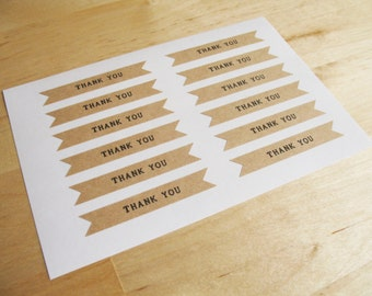 Thank You - Kraft Stickers –Flag Pennants Kraft Stickers * Set of 48 pcs.