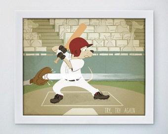 kids inspiration art, Baseball Dog, retro art, kids baseball art, motivation poster, retro nursery, CUSTOMIZABLE, 5x7, 8x10, 11x14