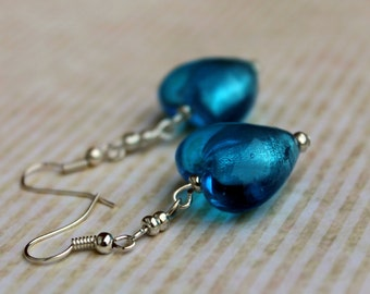 Handmade Blue Glass Foil Heart Earrings