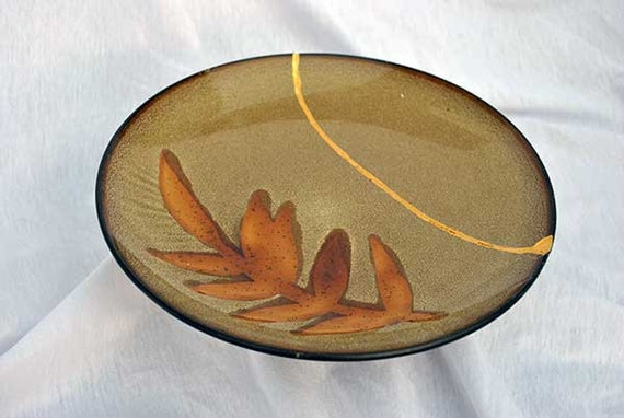 "Maple Leaf and Dusty Brown  6""  Kintsugi Plate Mended with a Gold Seam"
