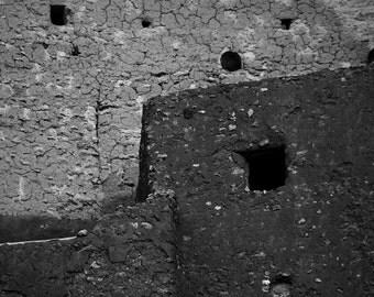 Southwest Photography, Cliff Dwelling, Montezuma's Castle, Southwest, Arizona, Fine Art Black and White Photography, Wall Art, Home Decor