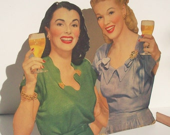 Beer Advertising / Large Balantine's / 1944 / Anitque  Cut-out cardboard display / Party Girls!