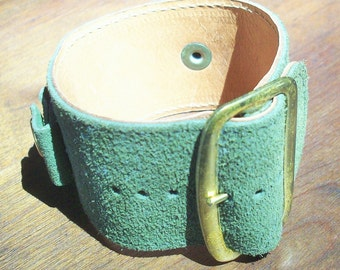 Big Green Suede Watch Band from the 1960's/ Tough Guy / Girl