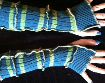 FREE Ship Teal and Green Sweater Arm Warmers Fingerless Gloves