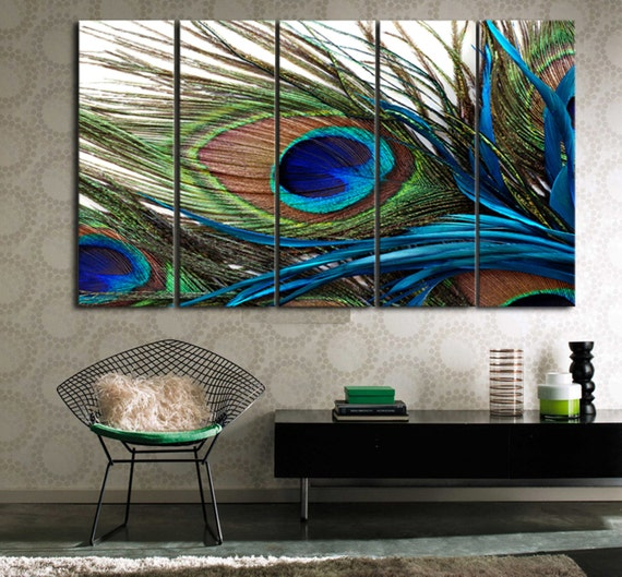 Peacock feather ready to hang set of 5 wall art by for Peacock wall art