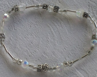 Clear and Silver Design Box Beads