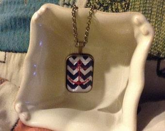 Anchor Chevron Pendant Necklace