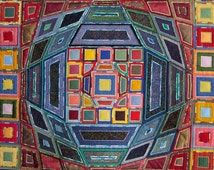 """RESERVED for MB                                                      Textile Wall Hanging, Fabric wall hanging, """"Victor Vasarely"""" multicolor"""