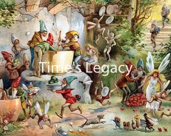 1895 E. Stuart Hardy the Book of Gnomes Children's Book Illustration Vintage High Res Printable Digital Image Download