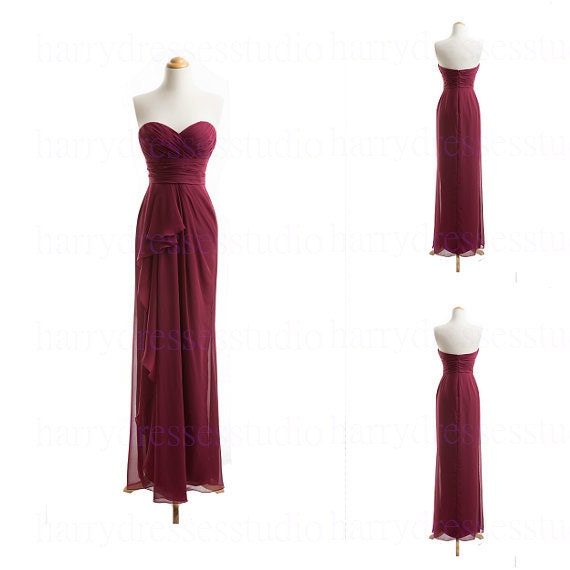 Wine Red Long Sweetheart Chiffon Bridesmaid Dress Wedding Party Dress Wedding Guest Dress Formal Evening Dress