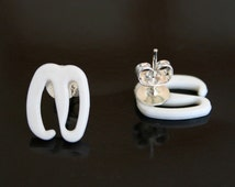 Repurposed earrings, bra hook earrings, recycled plastic hooks, white plastic stud earrings, handmade earrings, unusual stud earrings