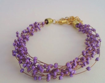 Seed bead and wire multistrand Statement Bracelet - purple