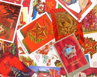 Soviet postcards, Sale, Random Set, Holiday, Soviet Union Vintage Postcard, USSR, Used Postcards, Mixed Media, 1970s, 1980s, 70s, 80s