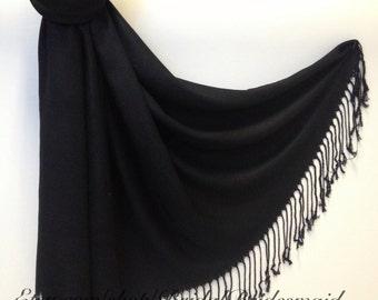 BLACK  PASHMINA - black shawl - bridal scarf - bridal shawl - bridesmaid gift - wedding gift - scarf - shawl - gift -