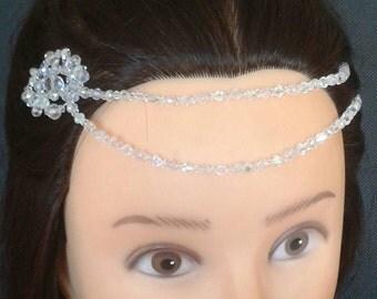 Beautiful handmade Glass Crystal Head Chain/ Forehead Embellishment, Boho Bride, eye catching unique.