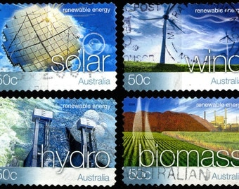 20 Used Australian Renewable Energy Postage Stamps - 5x4 Different