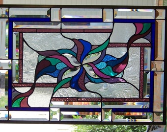 Colorful Abstract Stained Glass Window Hanging 25 1/8 X 17 1/2