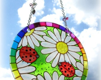 Suncatcher Ladybugs on Daisies Hand Painted  Glass Painting Home Decor Window Hanging Gift