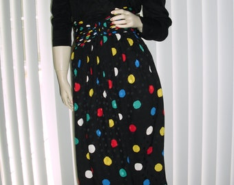 Vintage St.Gillian black multicolor polka dot silk dress @ Vintage 50s 60s 70s Boutique