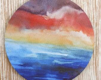 Mouse Pad mousepad Ocean Sunset Fine Art, Original Watercolor,Sea Life