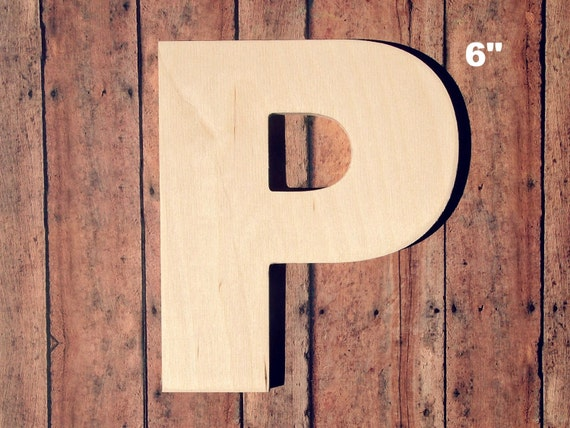 "Unfinished 6"" Decorative Wooden Letter P / 6"" Inch Capital ..."