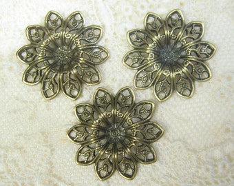Brass Flower Filigree  Antiqued Plated Brass Filigree 1-102-GO