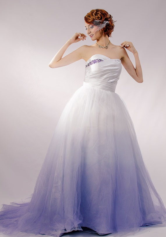 Dip Dyed Wedding Dress Purple Ombre Wedding Dress Couture