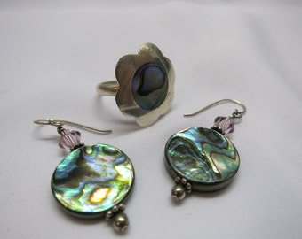 Vintage set of abalone shell sterling silver earrings and ring size 7 luminescent flower disc crystal bead deep sea ocean