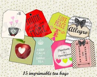 Printable tea bag envelope-digital image sheet download DIY Print and cut
