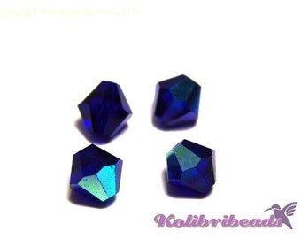 20x Czech Crystal Bicone Beads 6 mm - Ultramarine AB