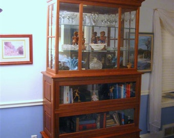 Handmade walnut barrister book and display case