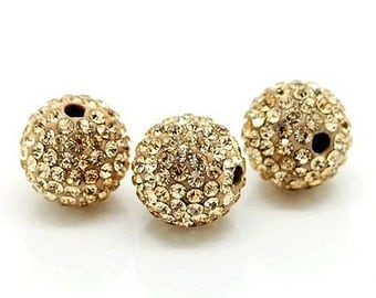 20PCS 12MM Crystal stones Loose Spacer Bead Pave Disco Ball Rhinestone Beads