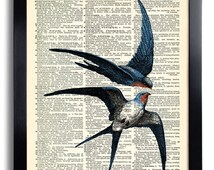 Swallow Swallows Art Print, Birds Love Bedroom Wall Decor, Decorative Art, Bird Wall Hanging,Swallow Artwork, Cool Home Wall  Decor  323