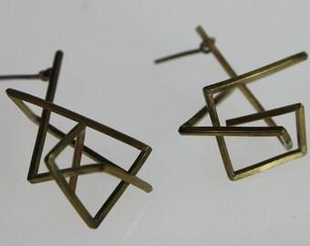 Folded Metal Hanging Earrings
