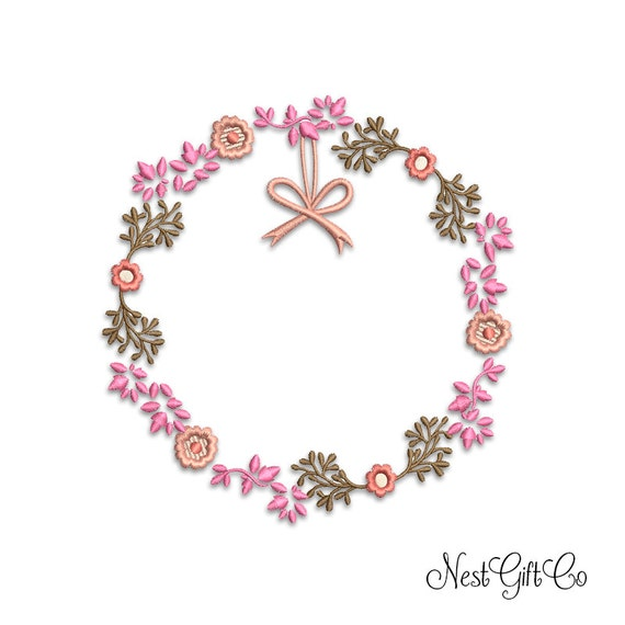 Flower wreath embroidery machine digital instant