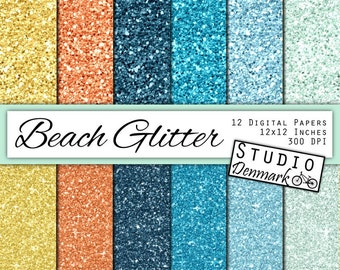 Beach Glitter Digital Paper - Sparkle Chunky Glitter - Sand, Coral and Ocean Shine - 12 Color Blue / Yellow - 12in x 12in - Instant Download