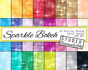 Sparkle Bokeh Digital Paper Value Pack - 24 Colors - Commercial Use - 12in x 12in 300 dpi jpg - Instant Download Stars Bokeh Background