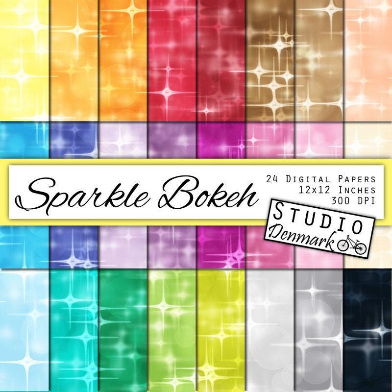 Sparkle Bokeh Digital Paper Value Pack – 24 Colors – Commercial Use