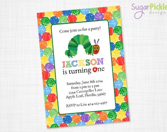 Caterpillar Birthday Invitation, Caterpillar Party Invitation, First Birthday Invitation, Hungry Caterpillar Invitation, Caterpillar Theme