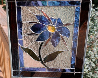 Blue Flower Stained Glass Panel